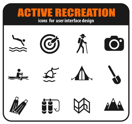 Active recreation and camping icon set for user interface design