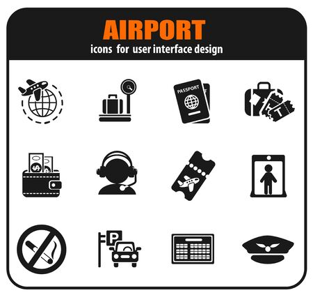 Airport and air carrier services icons set for user interface design