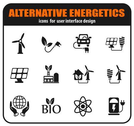 Alternative energetics icons set for user interface design 向量圖像