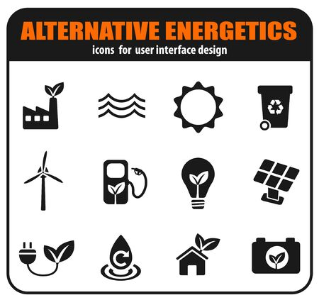Alternative energetics icons set for user interface design Stockfoto - 129856558