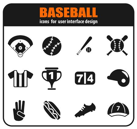 Baseball icon set for your design. vector icons Stockfoto - 129856573