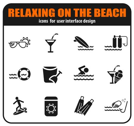 Relaxing on the beach icon set for your design. vector icons