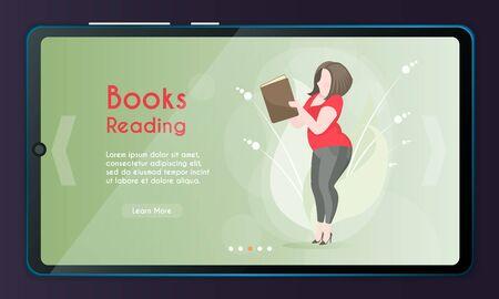 Vector banner illustration of girl reading a book Stock Illustratie