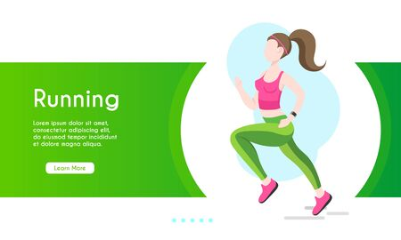 Healthy lifestyle concept for website or web page. Young active people running marathon. Fitness in the city, cardio sport, outdoors training workout.
