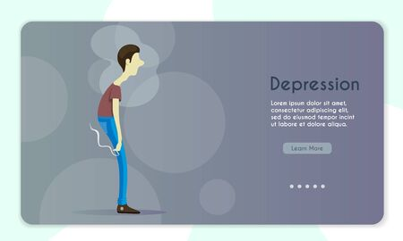 Vector banner illustration of depressed young man