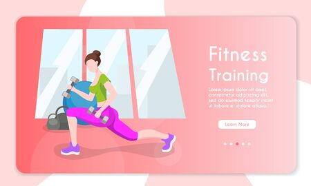 Vector banner illustration of fitness training. Healthy lifestyle. Cartoon vector illustration. Female character. Fitness in the city, cardio sport