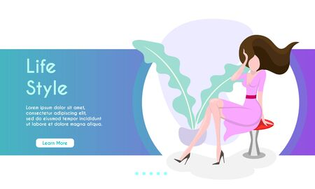 Woman straightens her hair sitting on a chair. Stock Illustratie