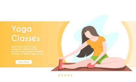 Vector banner illustration of yoga classes. Cartoon vector illustration. Female character. Stock Illustratie