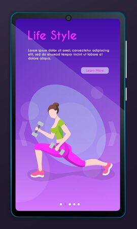 Mobile app page, screen set. Vector banner illustration of fitness training. Healthy lifestyle. Cartoon vector illustration. Female character. Fitness in the city, cardio sport