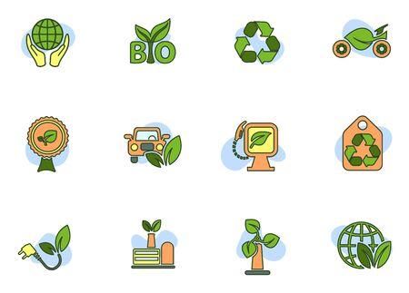 eco symbols colored icons isolated on white background