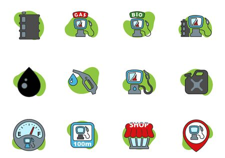 gas station colored icons