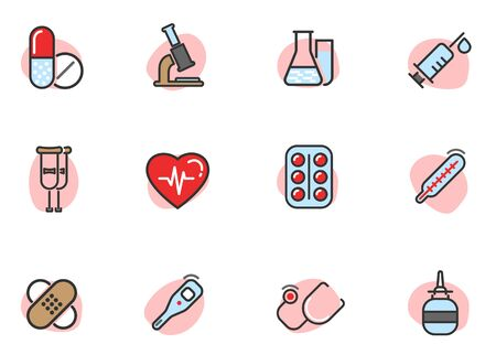 pharmacy and medicines colored icons Illustration