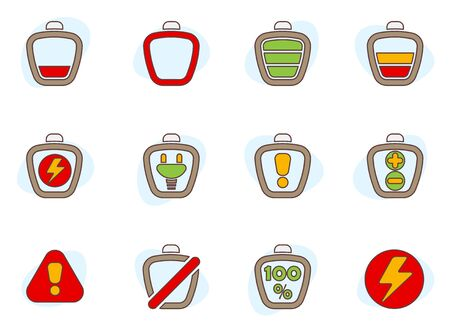 electric batteries and battery level colored icons