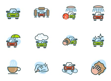car wash colored icons