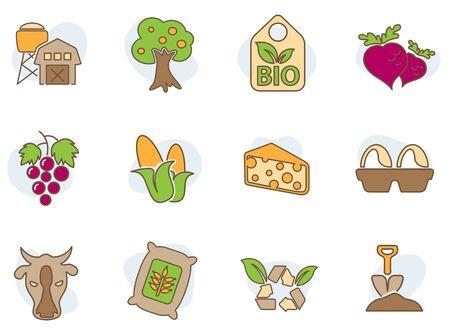 Farm Colored Icons Illustration