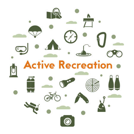 Active recreaion icons set on white background. Camping, hiking and swimming vector pictograms. Illustration