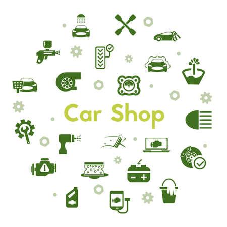 car shop icon set isolated on white background