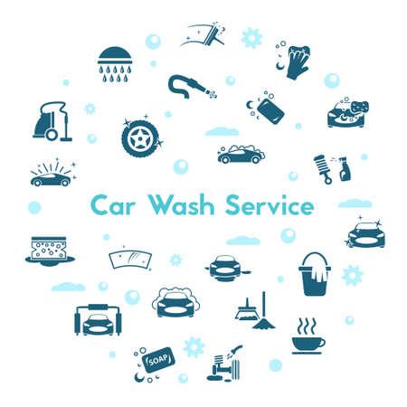 car wash icon set isolated on white background Stock Illustratie
