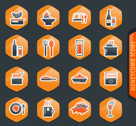 Food and kitchen web icons for user interface design Ilustracja