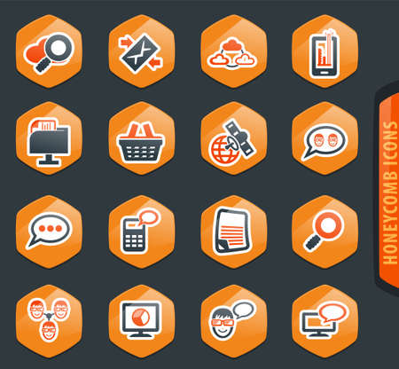 Data analytic and social network vector icons for user interface design