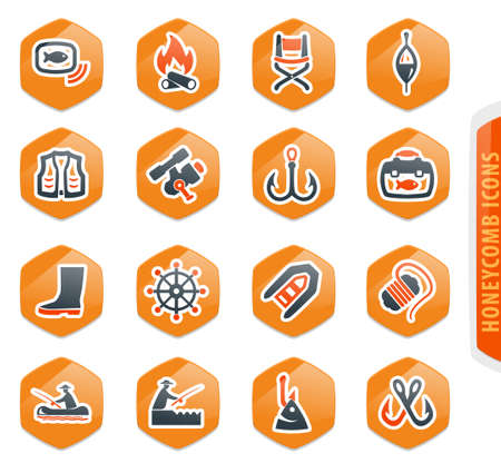 Fishing color vector icons for user interface design