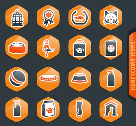 Goods for pets color vector icons for user interface design  イラスト・ベクター素材