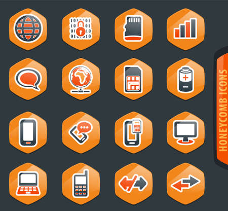 Mobile connection color vector icons for user interface design