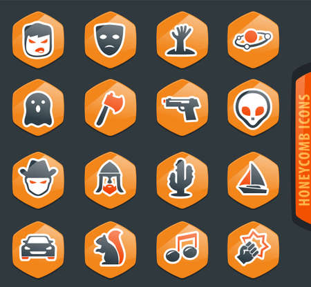 Set of movie genres color vector icons for user interface design  イラスト・ベクター素材