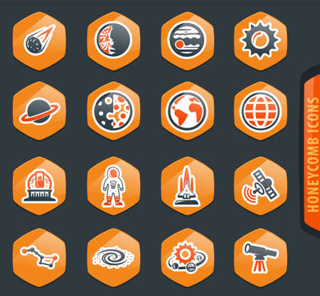 Space color vector icons for user interface design