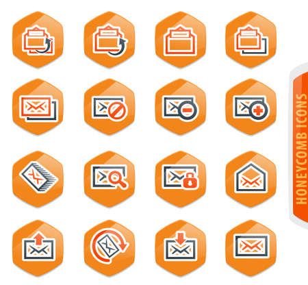 Mail easy color vector icons for user interface design