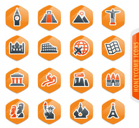Travel and Wonders color vector icons for user interface design
