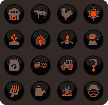 Agriculture and farming icon set for web sites and user interface Ilustrace