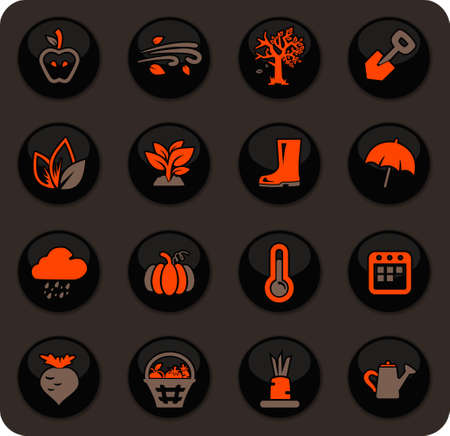 Autumn color vector icons on dark background for user interface design