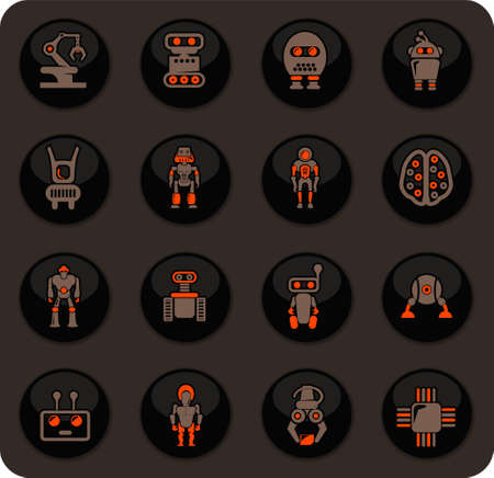 Robots color vector icons on dark background for user interface design