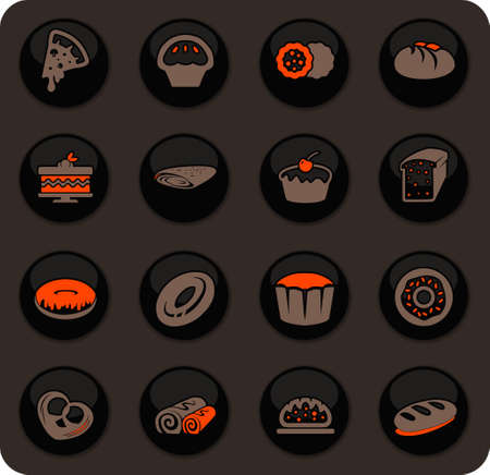 Bakery products color vector icons on dark background for user interface design