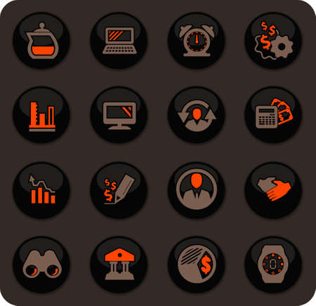 Business management and human resources color vector icons on dark background for user interface design
