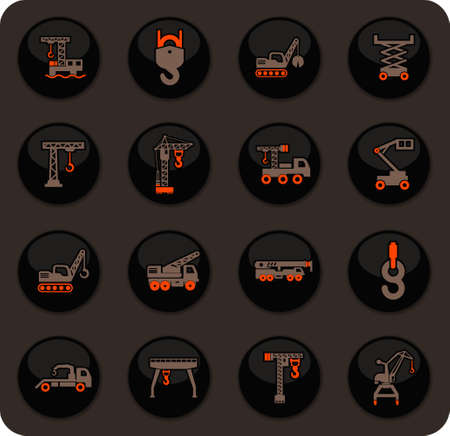 Crane and lifing color vector icons on dark background for user interface design