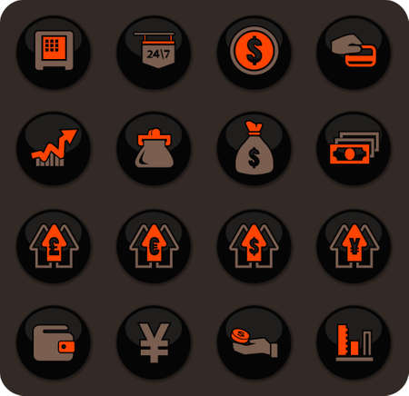 Currency exchange color vector icons on dark background for user interface design
