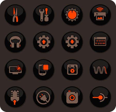 Electronic repair color vector icons on dark background for user interface design Vektoros illusztráció
