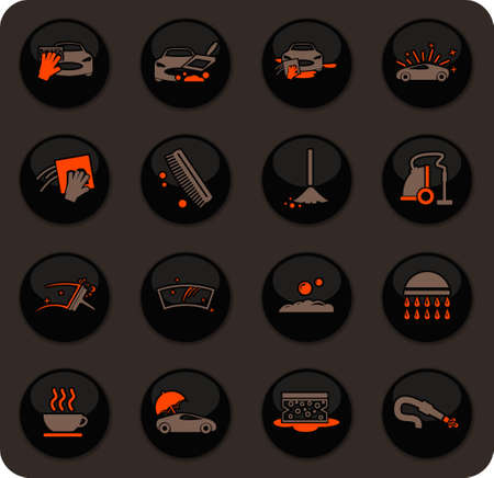 Car wash color vector icons on dark background for user interface design Stock Illustratie