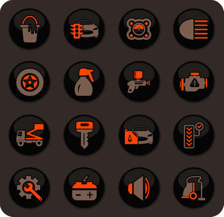 Car shop color vector icons on dark background for user interface design