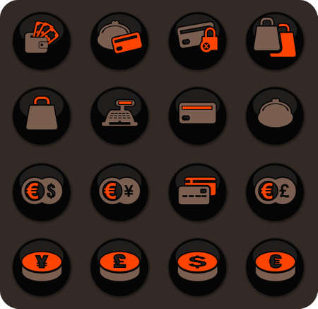 E-commers color vector icons on dark background for user interface design