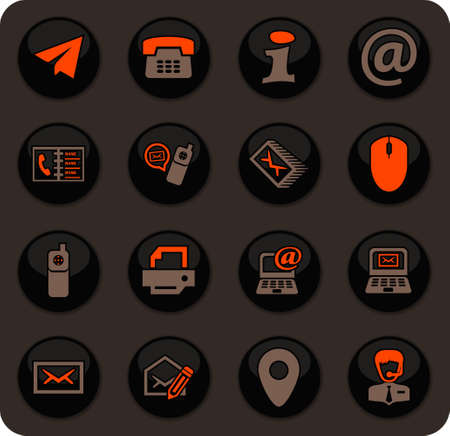 Contact us color vector icons on dark background for user interface design