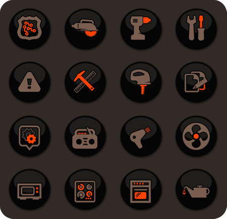 Electronic repair color vector icons on dark background for user interface design