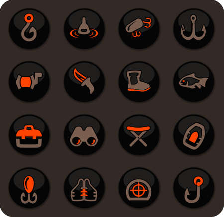 Fishing color vector icons on dark background for user interface design
