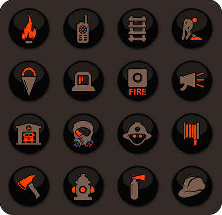 Fire brigade color vector icons on dark background for user interface design