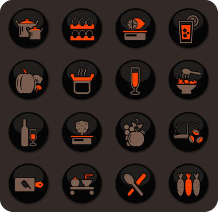 Food and kitchen color vector icons on dark background for user interface design