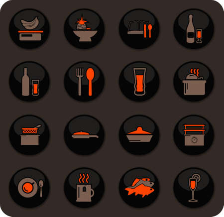 Food and kitchen color vector icons on dark background for user interface design Ilustracja