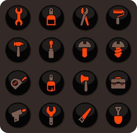 Work tools easy color vector icons on dark background for user interface design