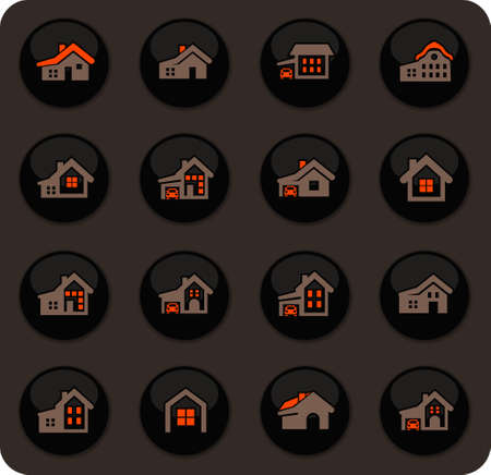 house type color vector icons on dark background for user interface design Ilustracja